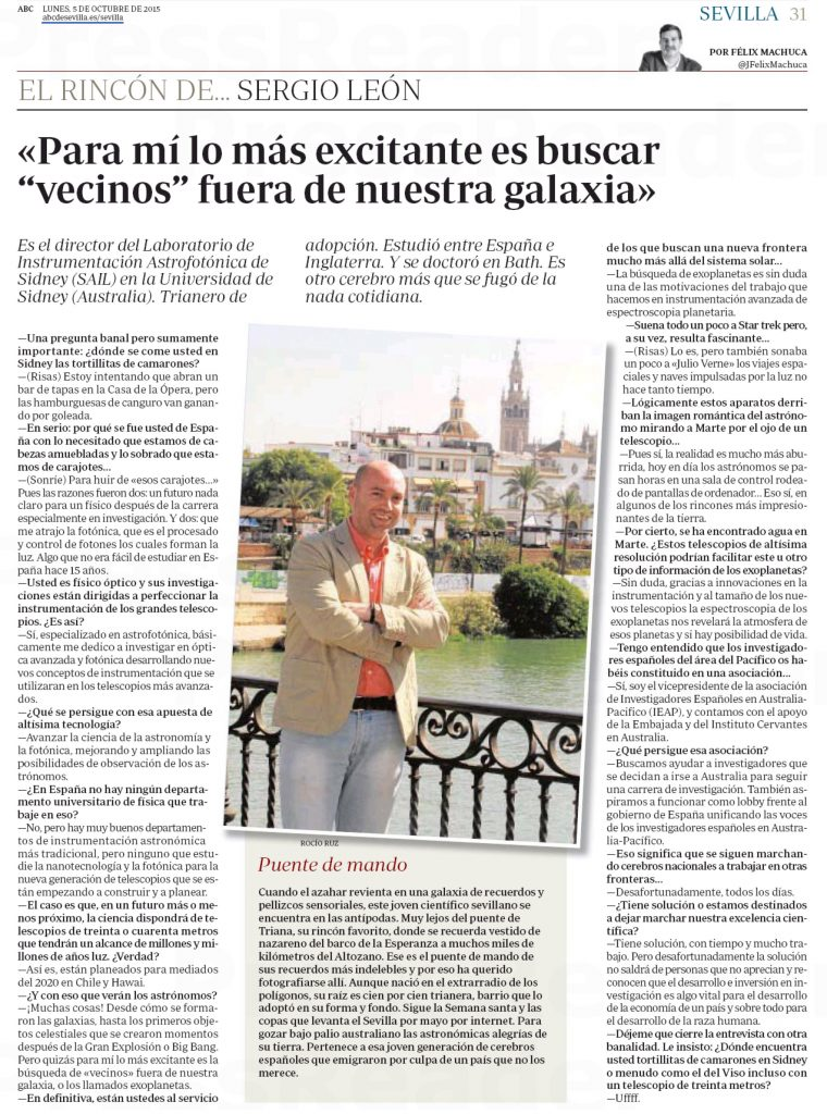 Interview to Sergio León-Saval, ABC Seville (Spain), 5 October 2015